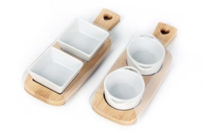 double dip dishes on bamboo tray