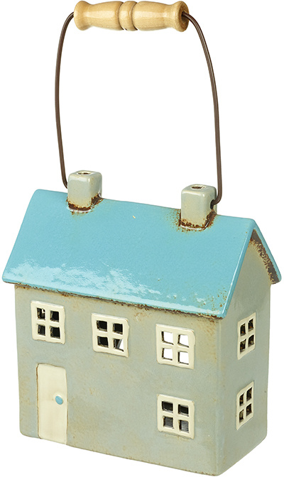 ceramic house t light with handle